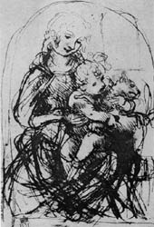 Sketch of Madonna, Baby and Cat