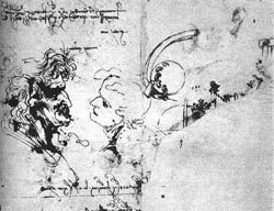 One of Leonardo's early sketches